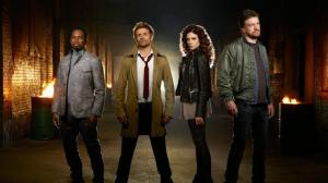 Harold Perrineau, Matt Ryan, Angélica Celaya and Charles Halford as Manny, John Constantine, Zed Martin and Chas Chandler respectively.